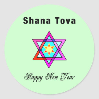 Estrella judía Shana Tova Pegatina Redonda