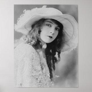 Estrella Lillian Gish de la película muda Póster