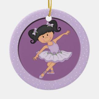 Estrella linda del ballet de la bailarina 3 de la adorno navideño redondo de cerámica