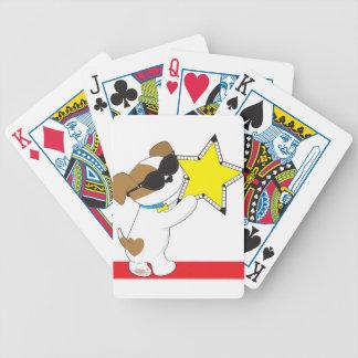 Estrella linda del perrito barajas de cartas