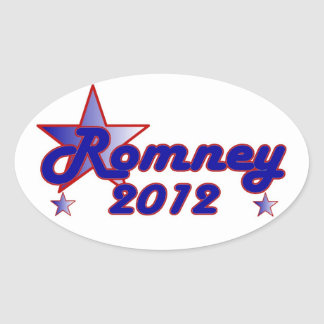 Estrella lisa de Romney 2012 Pegatina Ovalada