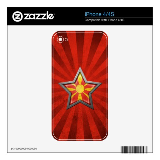 Estrella macedónica de la bandera con los rayos de iPhone 4S skin