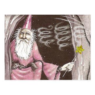 Estrella mágica de la vara del duende viejo mágico tarjeta postal