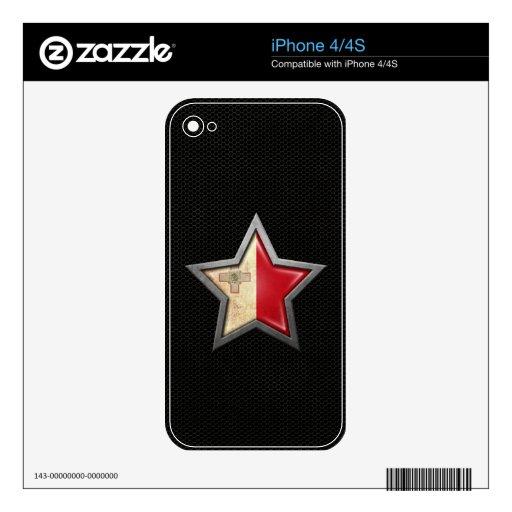 Estrella maltesa de la bandera con el efecto de ac iPhone 4 calcomanía