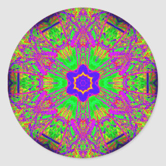 estrella maravillosa del seis-punto etiqueta redonda