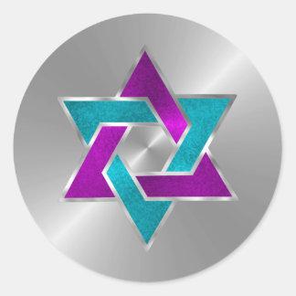 Estrella metálica de la mirada de Mitzvah del palo Pegatina Redonda