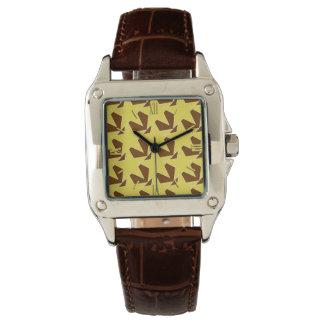 Estrella moderna geométrica - oro y marrón de la reloj