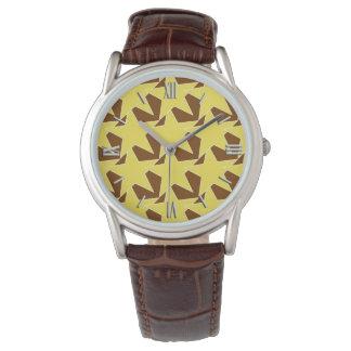 Estrella moderna geométrica - oro y marrón de la relojes de mano