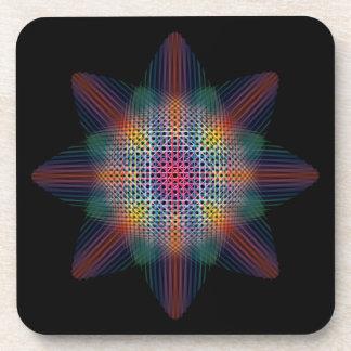 Estrella multicolora Trippy en superficie negra Posavasos De Bebida