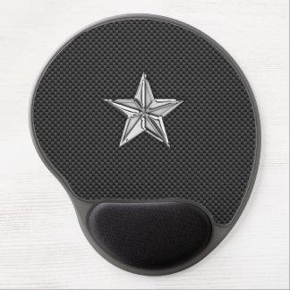 Estrella náutica del cromo en fibra de carbono alfombrillas con gel