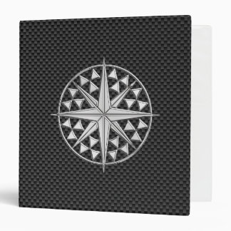 """Estrella náutica del cromo en fibra de carbono carpeta 1 1/2"""""""