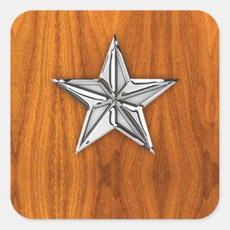 Estrella náutica del cromo en la chapa de la teca calcomania cuadradas personalizada