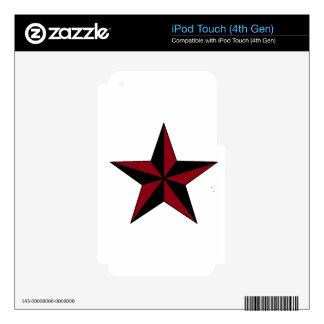 Estrella náutica negra y roja skins para iPod touch 4G