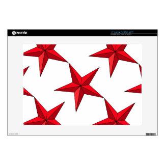 Estrella náutica roja calcomanía para portátil