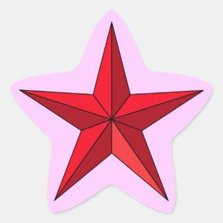 Estrella náutica roja en rosa pegatina en forma de estrella