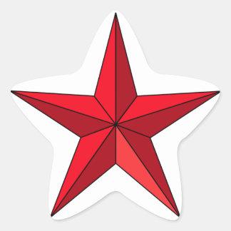 Estrella náutica roja pegatina en forma de estrella