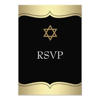 """Estrella negra del oro de la barra Mitzvah RSVP de Invitación 3.5"""" X 5"""""""