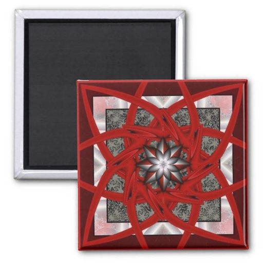 Estrella negra roja 2 imán cuadrado
