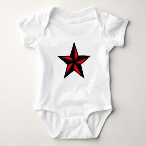 Estrella negra y roja playeras