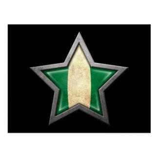 Estrella nigeriana de la bandera en negro postales
