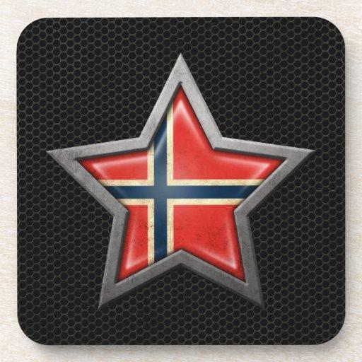 Estrella noruega de la bandera con el efecto de ac posavasos de bebidas