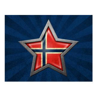 Estrella noruega de la bandera con los rayos de la tarjeta postal