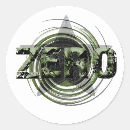 Estrella número cero pegatina redonda