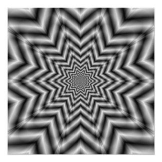 Estrella ópticamente estimulante en blanco y negro fotografias