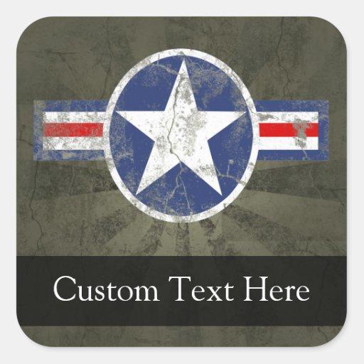 Estrella patriótica militar del vintage pegatina cuadrada