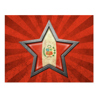 Estrella peruana de la bandera con los rayos de la tarjetas postales