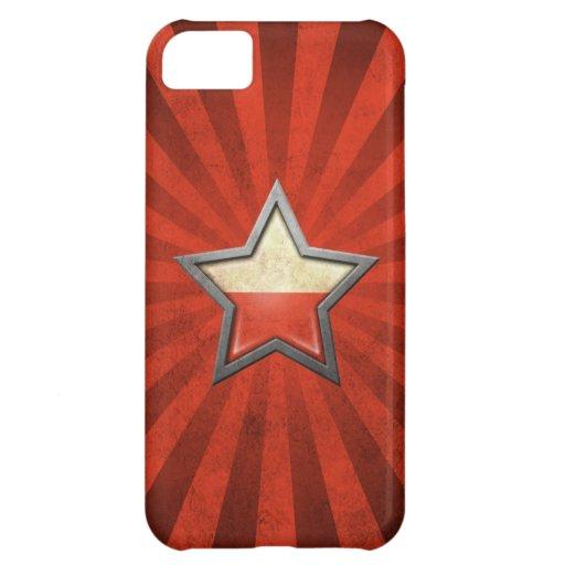 Estrella polaca de la bandera con los rayos de la