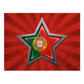 Estrella portuguesa de la bandera con los rayos de postal