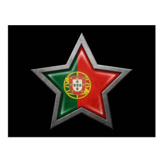 Estrella portuguesa de la bandera en negro tarjetas postales