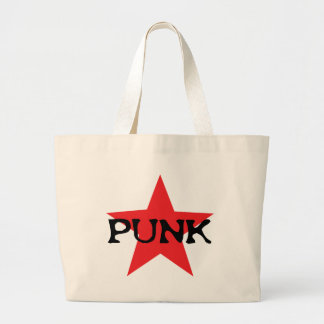 estrella punky roja bolsa de tela grande