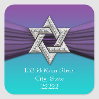 Estrella púrpura de la plata de la cinta de David Pegatina Cuadradas