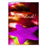 Estrella púrpura de Navidad del navidad III Felicitación
