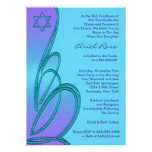 Estrella púrpura del trullo del palo Mitzvah de Da Invitaciones Personalizada