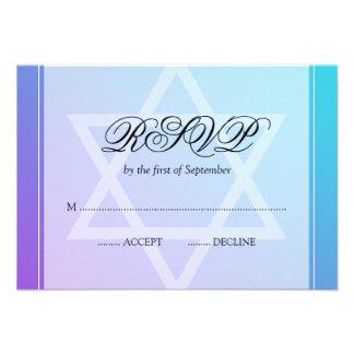 Estrella púrpura del trullo del palo Mitzvah RSVP Comunicados Personalizados