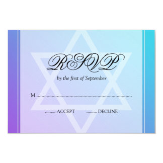 """Estrella púrpura del trullo del palo Mitzvah RSVP Invitación 3.5"""" X 5"""""""