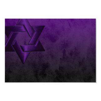 """Estrella púrpura elegante de Mitzvah de la barra Invitación 3.5"""" X 5"""""""
