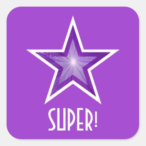 "Estrella púrpura ""ESTUPENDA!"" púrpura cuadrada del Pegatina Cuadrada"