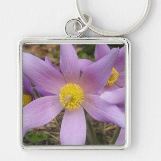 Estrella púrpura llavero cuadrado plateado
