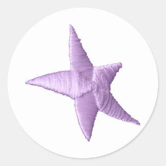 Estrella púrpura pegatina redonda
