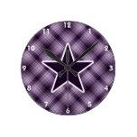 Estrella púrpura relojes de pared