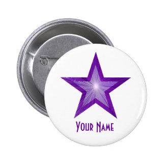 """Estrella púrpura """"su"""" blanco conocido del botón pin redondo de 2 pulgadas"""