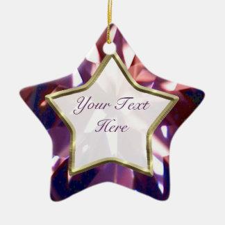Estrella púrpura, violeta de la gema adorno navideño de cerámica en forma de estrella
