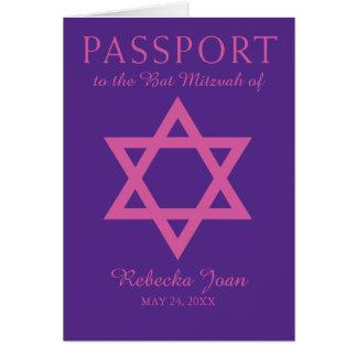 Estrella púrpura y rosada del pasaporte de Mitzvah Tarjeta Pequeña