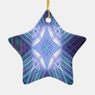 Estrella que brilla intensamente azul adorno navideño de cerámica en forma de estrella