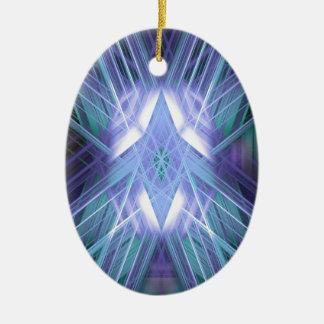 Estrella que brilla intensamente azul adorno navideño ovalado de cerámica