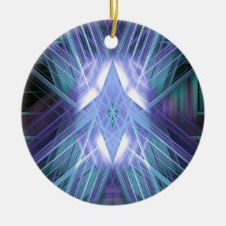 Estrella que brilla intensamente azul y verde adorno navideño redondo de cerámica